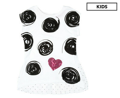 Flapdoodles Girls' Circles & Hearts Top - White