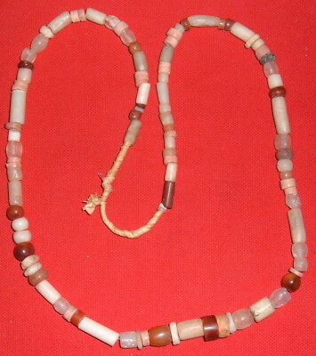 Strand of Colorful Sahara Neolithic Stone Beads, Prehistoric African Artifacts