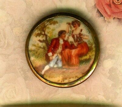 Large Mid 19th Century Polychrome Painted on Glazed Porcelain Romance Couple