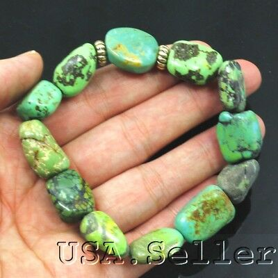 233.5CT 100% Natural Blue Antique Spiderweb Turquoise Rough Nugget Bracelet 8""