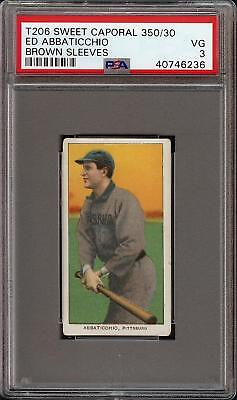 1909-11 T206 Ed Abbaticchio Brown Sleeves Sweet Caporal 350 Pittsburg PSA 3 VG