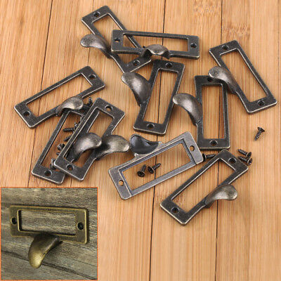 10x Antique Brass Drawer Label Pull Cabinet Frame Handle File Name Card Holder
