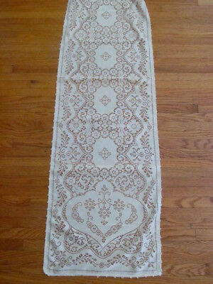 Lovely Vintage Quaker Lace Style Runner Dresser Scarf~Soft Cream Color 62 x 16