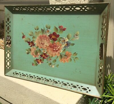 Vintage Hand Painted Metal Toleware Serving Tray With Beautiful Flowers 23 1/2""