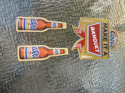 New ( 3 Lot) Bottle Sign COORS Banquet Beer Christmas Ornaments Decoration NOS