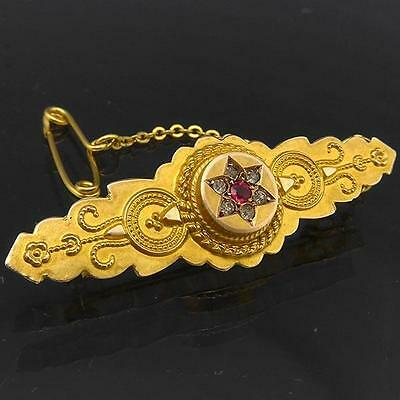 Antique Victorian Etruscan c1880 Style 9k GOLD BAR MEMENTO BROOCH Solid Yellow