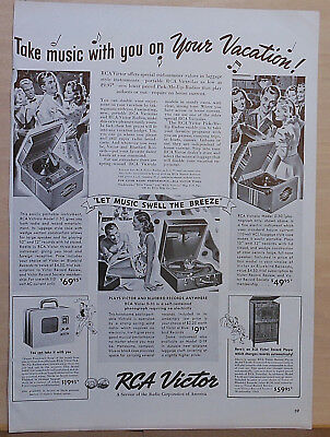 1939 magazine ad for RCA radio & phonographs - models 0-50, 0-10, U-50, VA-22