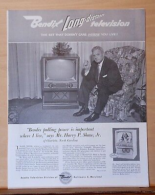 1955 magazine ad for Bendix television - Harry P. Shaw Jr. of Charlotte & TV set