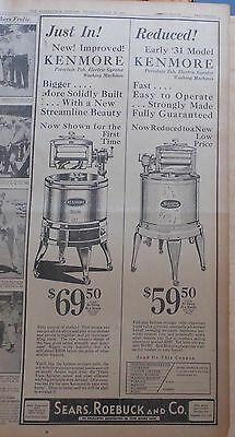 1931 large newspaper ad for Kenmore Wringer Washers - Deluxe, Gyrator models