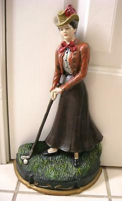 #2 Vintage Cast Iron Women Golfer Multicolored Enamel Door Stopper