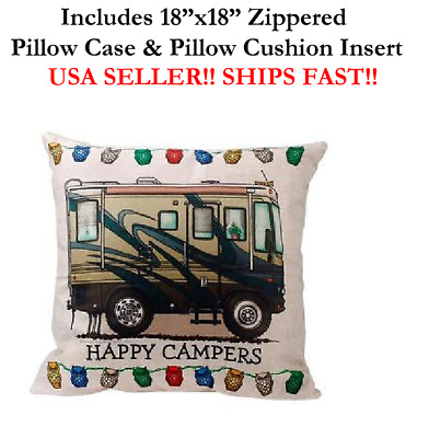 """18x18 18"""" HAPPY CAMPERS RV RECREATIONAL VEHICLE Trailer Home Zip Pillow Cushion"""