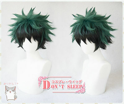 My Hero Academia Izuku Midoriya Deku Short Green Black Mix Cosplay Hair Wig
