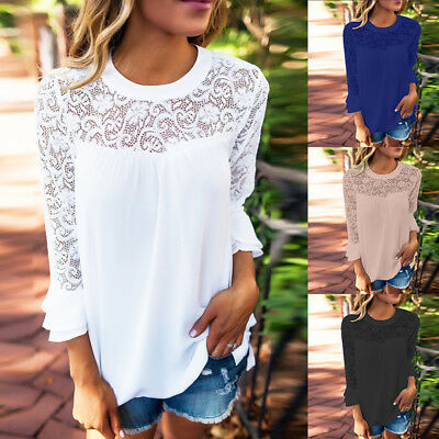 Women Plus Size Crochet Lace Floral Top Tee T Shirt 3/4 Bell Sleeve Sheer Blouse