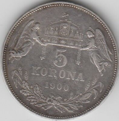 Coin 1900 Hungary silver 5 Korona with text rim in good very fine condition