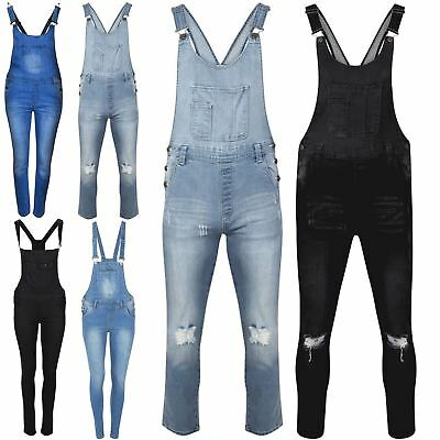 Ladies Womens Celeb Jeans Denim Full Length Overall Pinafore Dungaree Jumpsuit