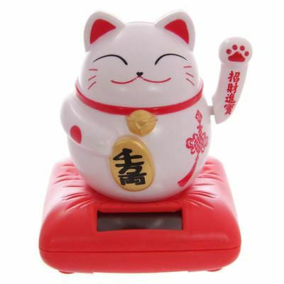 White Waving Chinese Japanese Oriental Beckoning Lucky Cat Solar Powered Pal