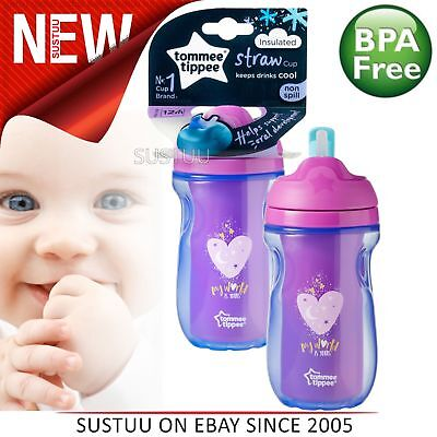 Tommee Tippee Insulated Active Straw Cup [260ml]Girl│Toddlers Non-Spill Mug│12m+