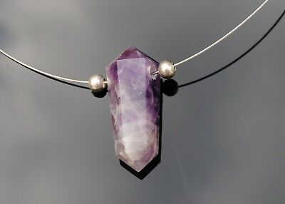 Amethyst Gemstone Double Point Pendant Necklace