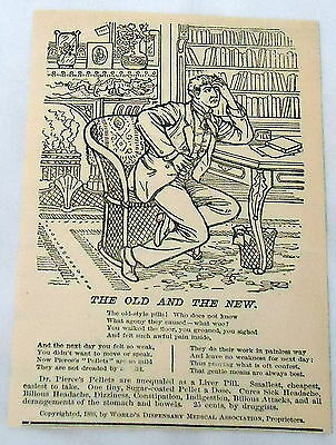 1888 magazine engraving ~ ad for DR. PIERCE'S PELLETS ~ liver pills