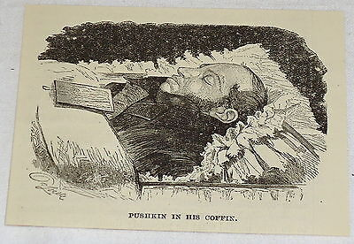 1887 magazine engraving ~ PUSHKIN IN HIS COFFIN, Russia