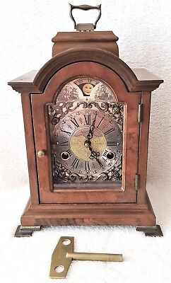 Warmink Mantel Clock Dutch Shelf Bracket Nut Wood 8 Day Moon Dial Bell Strike