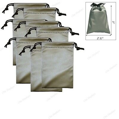 """36 MODERN GREY LEATHERETTE POUCHES JEWELRY GIFT BAG  GIFT WRAP IDEA 2 3/4""""x3"""""""