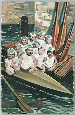 MULTIPLE BABIES YACHTING 1907 ANTIQUE POSTCARD w/ HONG KONG STAMP