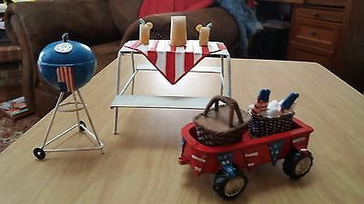 5 pc. miniature fairy garden picnic table, grill, wagon set or singles sale