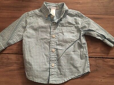 Janie And Jack Boys Long Sleeve Button Up Shirt Size 3-6 Months Blue Gingham