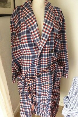 Vtg Men's Genuine Beacon Fabric Blanket Robe Red White and  Blue Plaid with belt