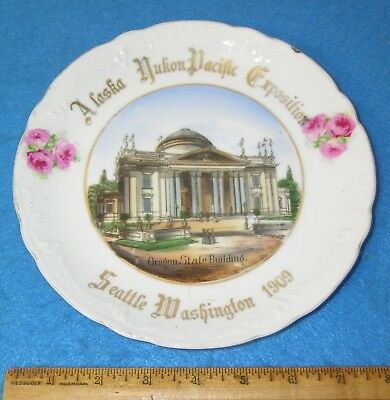 "1909 Alaska Yukon Pacific Exposition AYP OREGON STATE BUILDING 8"" China Plate"