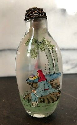 Antique Vintage Asian Snuff Bottle Jar Hand Painted Estate Find Turquoise