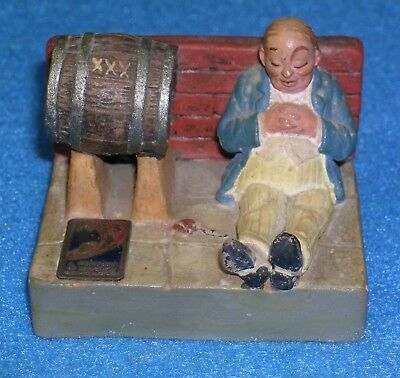 1933 World's Fair Figural DRUNK & WHISKEY BARREL STATUE End of Prohibition BEER