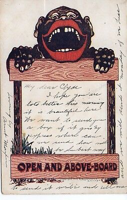 """52663. Mailed 1906 Litho Postcard """"Open and Above-Board"""" Sign Black Americana"""