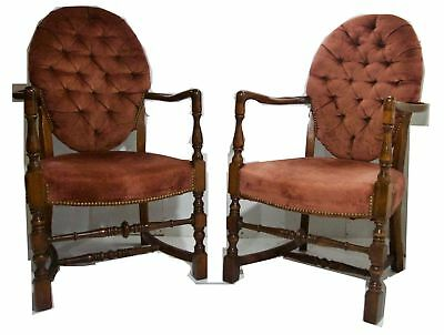 Pair Walnut Armchairs 19th Century Carved Sculpted Arms on Turned Legs