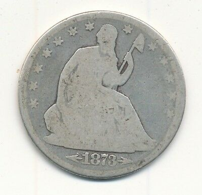 1873 Seated Liberty Silver Half Dollar With Arrows Good Details - Free Shipping