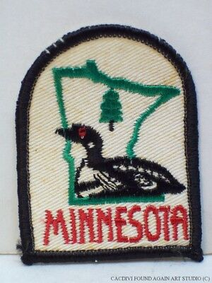 Vintage Minnesota State Bird the Loon Patch State Shaped Map Souvenir Badge