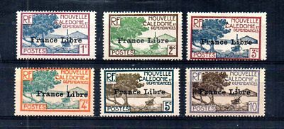 Wwii French Colony New Caledonia 1941 Scott# 217-222. France Libre Ovpt. Unused