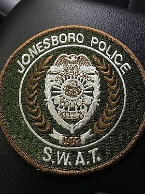 Jonesboro Arkansas  S.w.a.t.  Police Patch Shoulder Size New 4 X 4 Inch