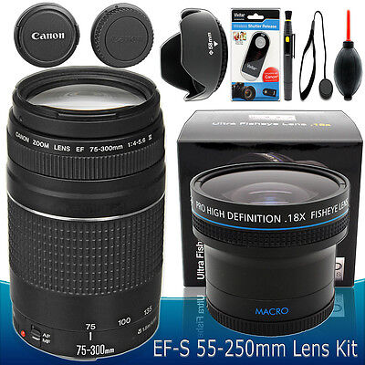 Canon Ef 75-300mm F/4.0-5.6 III Objectif Kit Accessoires pour T5 T6 T3i T6i T6s