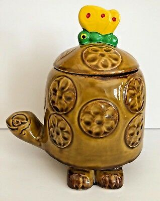 Vintage MCCOY Pottery 271 Brown Timothy Turtle Butterfly Cookie Jar Canister