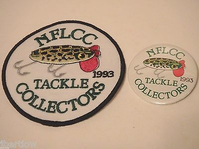Vintage NFLCC Fishing Lures Old Jitter Bug Patch & Pin / Button