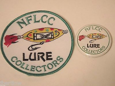 Vintage NFLCC Fishing Lures Old Lure with Spinner Insert Patch & Pin / Button