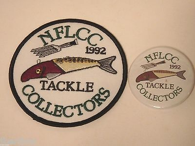 Vintage NFLCC Fishing Lures Gig & Fish Decoy Patch & Pin / Button