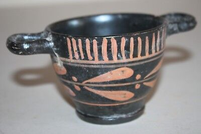 ANCIENT GREEK POTTERY XENON SKYPHOS 4th BC WINE CUP