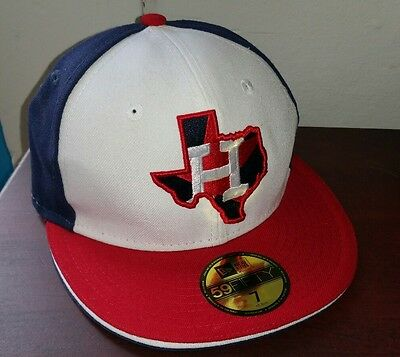 New Era Houston Astros Red White Blue Texas State 59FIFTY Fitted Hat Size 7 RARE