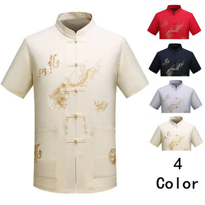 Vintage Mens Chinese Style Casual Shirt Dragon Printing Short Sleeve Blouse Tops
