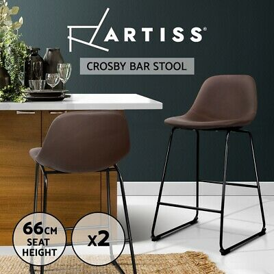 Artiss 2x Crosby Bar Stools Bar Stool Leather Dining Chair Kitchen Counter Brown