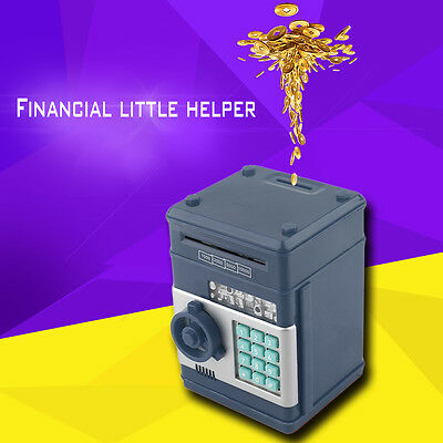 Kids Electronic Money Safe Box Password Saving Bank ATM for Coins and Bills GZ