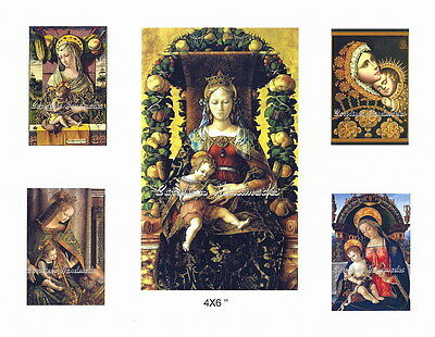 Baumwolle Stoff Quilt Block Madonna & Kind 4 @ 5.1X7.6cm & 1 @ 10.2x15.2cm On